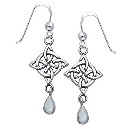 Sterling Silver Four-Point Celtic Knot North Star Earrings with Rainbow Moonstone Teardrops (Sterling Silver Four Point)