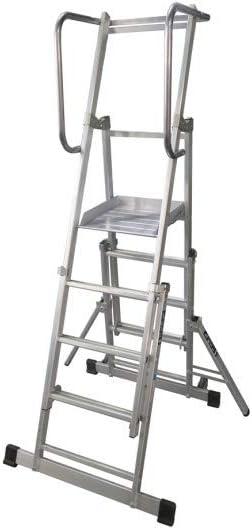 Escalera móvil con plataforma, plegable y extensible. EPX-400 (Aluminio, 5 peldaños): Amazon.es: Bricolaje y herramientas