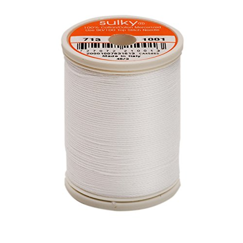 - Sulky Of America 660d 12wt 2-Ply Cotton Thread, 330 yd, Bright White