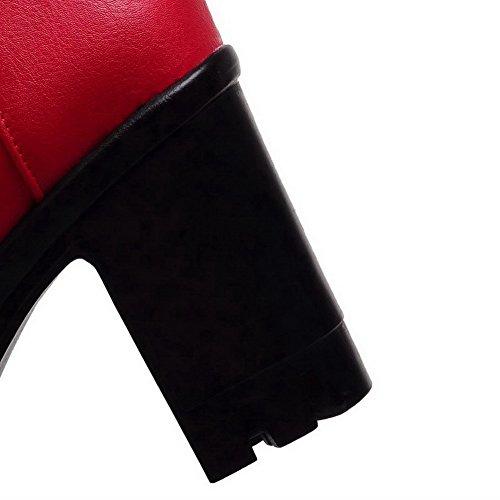 Allhqfashion Mujeres Solid High-heels Ronda Cerrada Dedo Del Pie Pu Botas Con Cordones Rojo