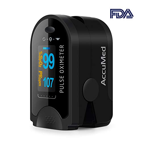 AccuMed CMS-50D Finger Pulse Oximeter Blood Oxygen Sensor SpO2 for Sports and Aviation, FDA Cleared. Portable and Lightweight with LED Display, 2 AAA Batteries, Lanyard and Travel Case (Black)