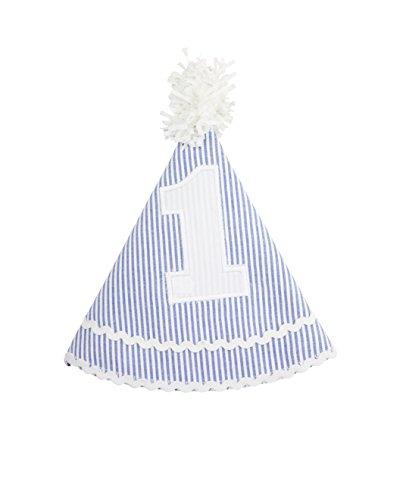 - RuffleButts Infant/Toddler Girls Striped Seersucker Birthday Hat - Blue Seersucker - One Size