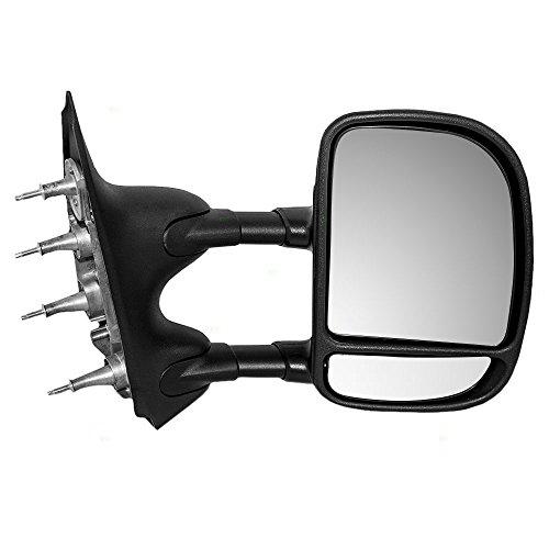 Manual Tow Telescopic Side View Mirror Dual Arms Double Swing Passenger Replacement for 03-16 Ford E-Series Van ()