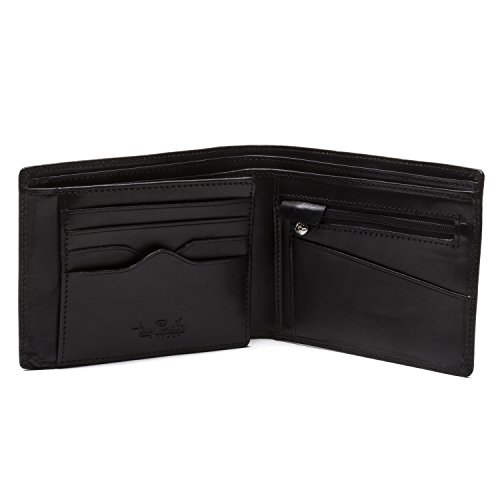 Tony Perotti Italian Leather Bifold Wallet With Credit Card Flap, Black Bi-Fold Wallet, Black by Luggage Depot USA, LLC