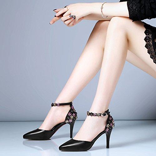 VIVIOO Sandalias De Las Mujeres De Sandalias De Tacón Alto Sandalias De Tacón Alto Y Verano De Baessou De Tacón Alto Zapatos De Tacón Alto De Las Mujeres Consejos Zapatos Huecos Zapatos De Las Flores Black