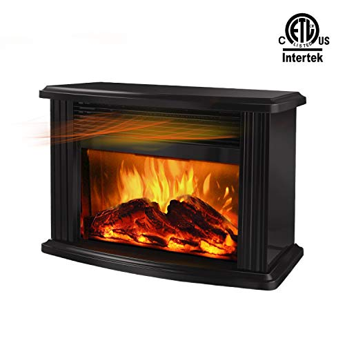 DONYER POWER 14 Mini Electric Fireplace Tabletop Portable Heater, 1500W, Black Metal Frame,Room Heater,Space Heater
