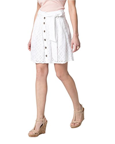 Lace Nylon Skirt - LE CHÂTEAU Women's Lace Button Mini Skirt,M,White
