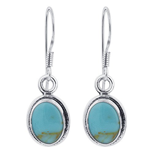 Gem Avenue 925 Sterling Silver Oval Simulated Turquoise 1.1 Inch Long Drop Earrings (Oval Turquoise French Earrings Wire)