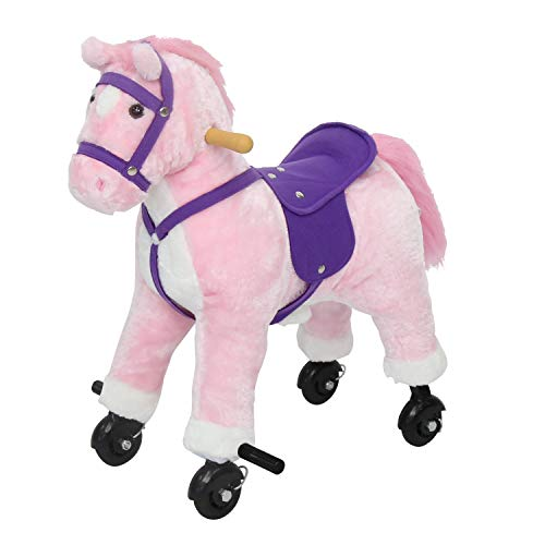 Kids Ride On Toy Walking Pony Plush Horse with Wheels and Realistic Sounds, Pink