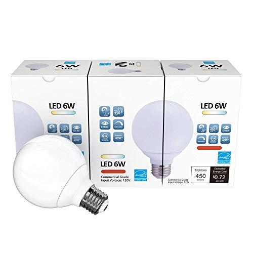 3 Pack LED G25 Vanity Globe Light Bulb - DIMMABLE - 6W (40 Watt Equivalent) Daylight (5000K) Shatter Resistant Energy Star E26 Base 450 Lumens