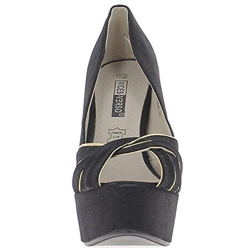 Escarpins brillants ouverts noirs et dorés talon aiguille 13,5cm et plateforme