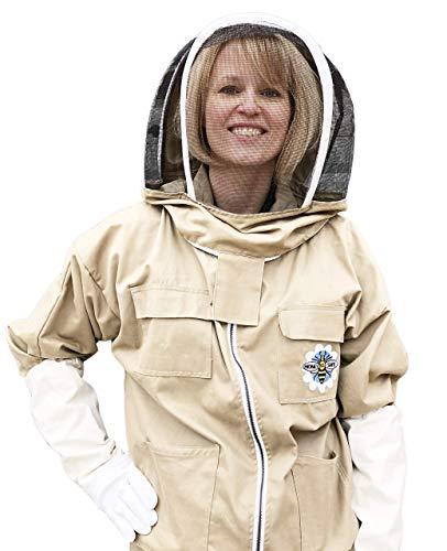 HONEY BEE SAFE Bee Cool 100% Cotton Apiarist Beekeeper Suit Tan Khaki Beekeeping Jacket Detachable Veil & Leather Gloves for Professionals, Beginners, and Backyard Beekeepers (XXLarge)