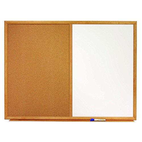 Quartet Combination Whiteboard/Cork Bulletin Board, 3' x 2', Oak Finish Frame - 0.25' Standard Combination