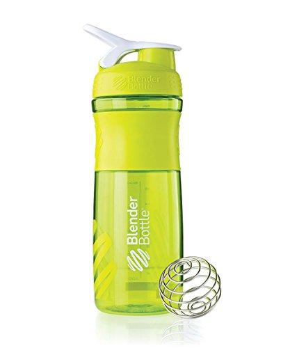 BlenderBottle SportMixer Tritan Grip Shaker Bottle, Green/White, 28-Ounce