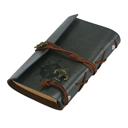 Vintage Leather Cover Journal Diary String Nautical (Black) - 7