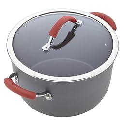 Rachael Ray Cucina Hard-Anodized Aluminum Nonstick Cookware Set, 12-Piece, Gray, Cranberry Red Handles