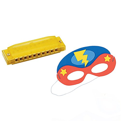VBS Superhero Theme -Music Craft 4 pack W/Yellow Harmonica & Super Hero Mask Craft]()