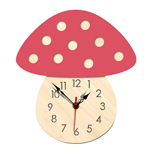 AHAYAKU Nordic Style Hedgehog Wall Clock Silent Wooden Clock for Home Living Room Pink