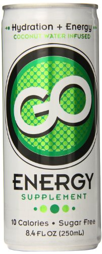 GO Energy Sugar Free Coconut Water Infused Hydration + Energy 8.4 Ounce Cans (24 pack), Natural Hydration & Electrolytes Caffeine Vitamins