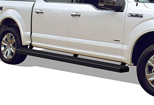 APS iBoard (Black Powder Coated 5 inches Wheet to Wheel) Running Boards | Nerf Bars | Side Steps for 2015-2019 Ford F150 SuperCrew Cab 5.5ft Bed Pickup 4-Door / 2017-2019 Ford F-250/F-350 Super Duty Black Powder Coated Wheels