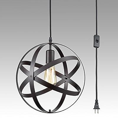 DANXU Plug in Industrial Metal Spherical Pendant Displays Changeable Hanging Lighting Fixture with Hanging Cord