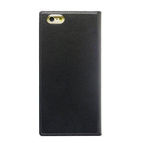 Uunique Nappa-Leder-Schutzhülle mit Aufstellfunktion für iPhone 6, Schwarz