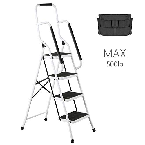 4 Step Ladder Tool Ladder Folding Portable Steel Frame MAX 500 lbs Non-Slip Side armrests Large Area Pedals Detachable ToolBag Suitable for Home Office Engineering (Engineering Office)