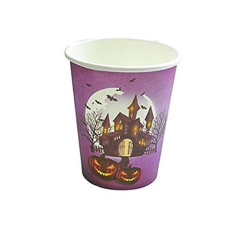 Juego de vajilla desechable de Halloween, platos desechables, vasos, mantel, cubiertos,