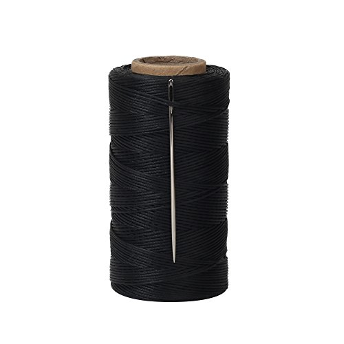 Tenn Well Waxed Thread, 328 Yards 150D 1MM Leather Sewing Waxed Thread with Needles for Leather DIY Project(Black) ()