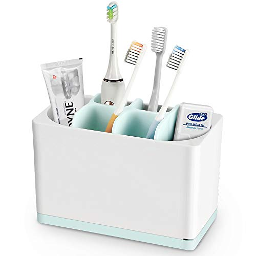 Luvan Toothbrush Holder Made of Food-Grade PP and ABS Plastic,BPA-Free&FDA Approved,Versatile Storage,Detachable for Easy Cleaning,Ideal for Regular/Electric Toothbrushes, Toothpaste Tubes etc