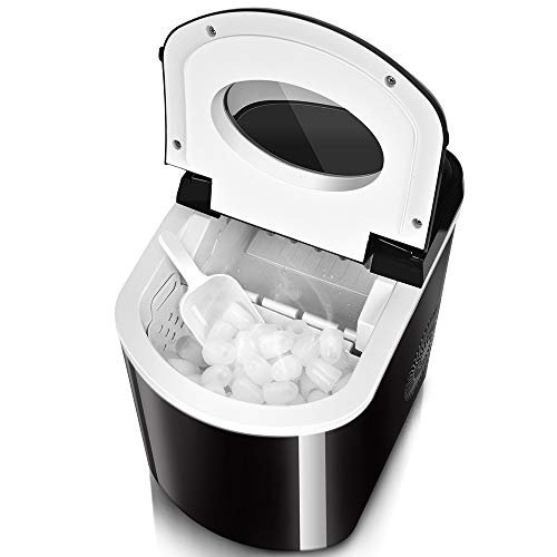 TRUSTECH Ice Maker  9 Bullet Ice / 8 Min - Highly Efficient Ice Machine, Auto Cycle Working, Auto Shut Off, S/L Size Bullet Ice Cube Ice Maker Machine with Ice Scoop and Removable Bucket, 26 lbs/24h ()