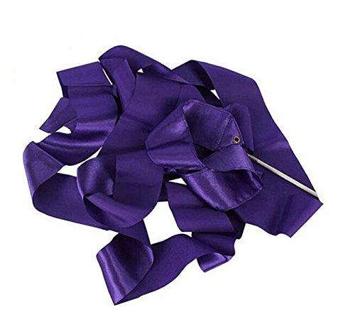 Saftybay 13-Feet Long Dance Streamers Ribbon Wands Gymnastic Rhythmic Ribbon Dance Ribbon with Stick Twirling -10PCS (Purple)