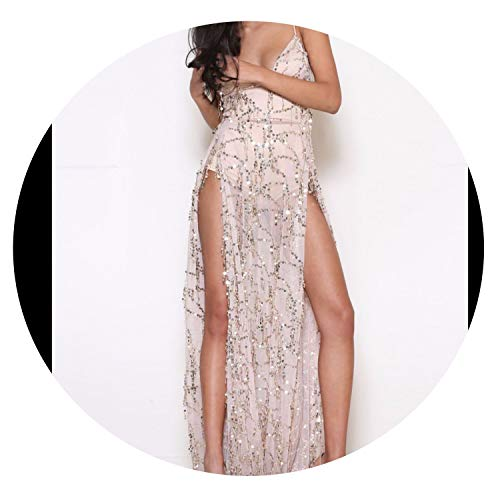 Sexy Sequins Dress for Women Sexy Side Slit Backless Sexy Weddings/Prom/Evenings/Clue Party Dress,Flesh,XL