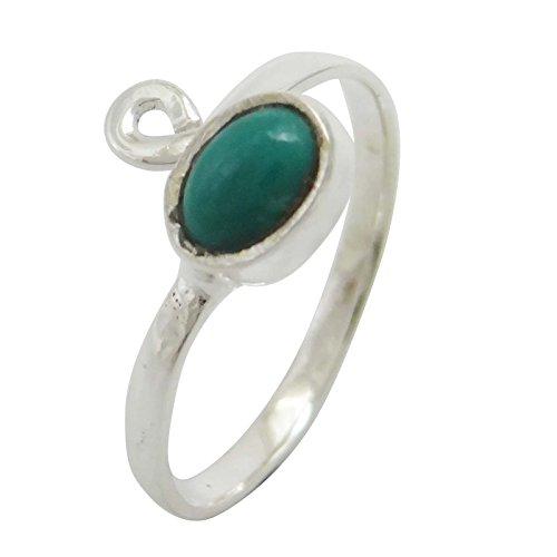 Banithani 925 Pur Pierre Turquoise Argent Bague Réglable Cadeau De Bijoux Indiens PourLesfemmes