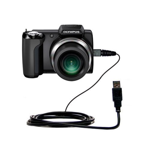 Gomadic Olympus SP-600UZ SP-610UZ compatible data sync straight USB cable - Built with TipExchange Technology by Gomadic