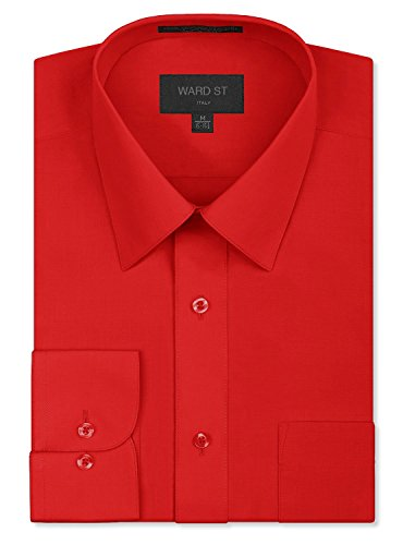 Ward St Men's Regular Fit Dress Shirts, XL, 17-17.5N 34/35S, Red