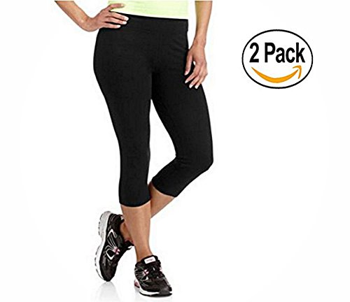 2 Pieces Danskin Now Women's Dri-More Capri Core Leggings (M, Black Soot)