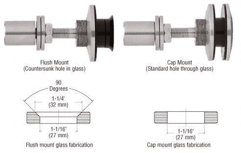"""CRL Brushed Stainless Steel Finish Swivel Combination Fastener for 3/8"""" to 5/8"""" Glass"""