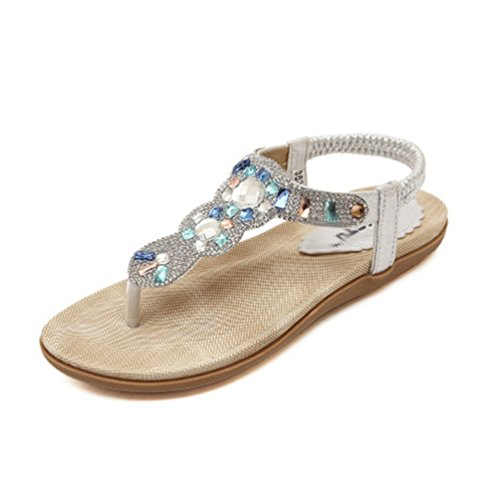 Sandales Summer Flip Argent Plat Or Beach String Comfort Flops Strass Femme Bohème Sparkly élastique yq4nwY4Az
