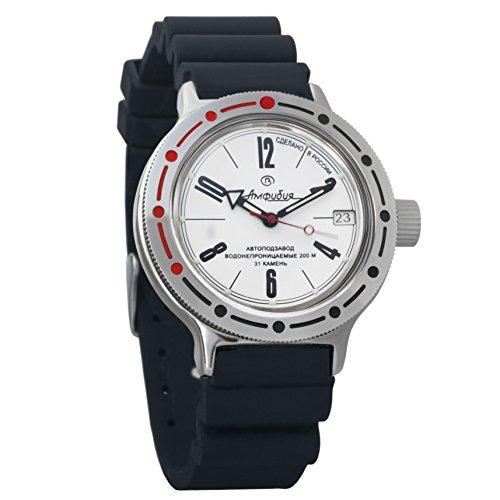 Resin Case Watch Dive (Vostok Amphibian Automatic Mens WristWatch Self-winding Military Diver Amphibia Case Wrist Watch #420483 (resin))