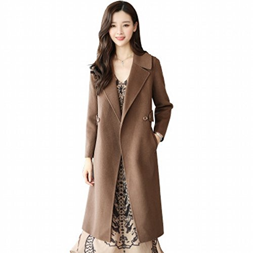 of Woolen Child Slim Long brown Winter in Was Fashion Temperament Section Female LD Autumn Models Dark Coat and the Coat R5q0W