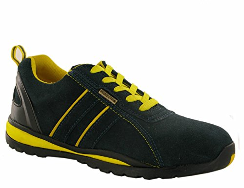 Safety Footwear Trainers Boots Shoes Work Steel Toe Cap Ankle Men/Ladies Navy/Yellow Suede rOIJL