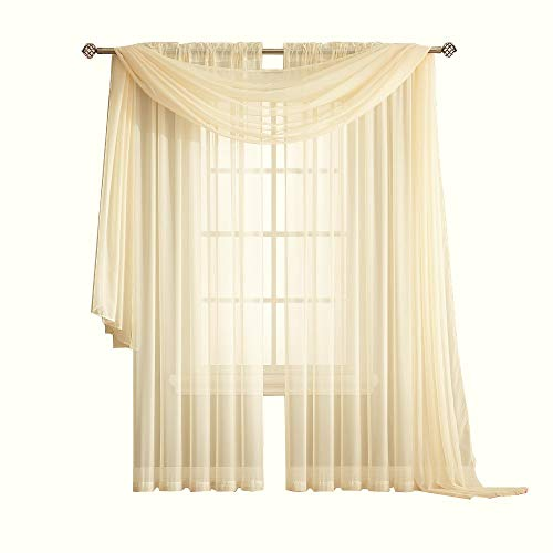Warm Home Designs Standard Length Yellow Beige Sheer Window Scarf. Valance Scarves are 56 X 144 Inches In Size. Great As Window Treatment, Bed Canopy Or For Decorative Project. Color: Yellow Beige 144