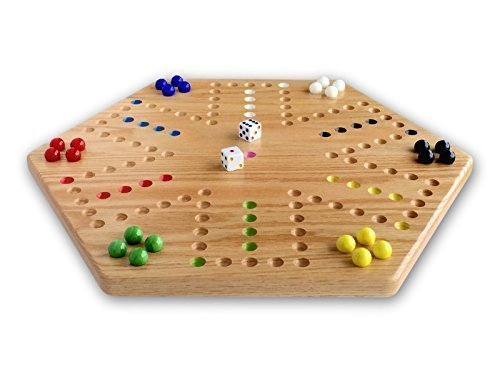 Aggravation Marble Game (Oak Hand-painted Double-sided Aggravation Game Board, 16