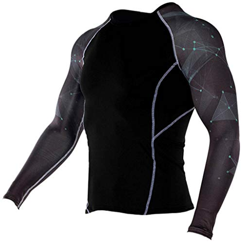 JJLIKER Mens Print Performance Long Sleeve Compression Shirts Cool Dry Baselayer Fitness Elastic T-Shirt Quick-Drying Black (Advantage Pique Knit)