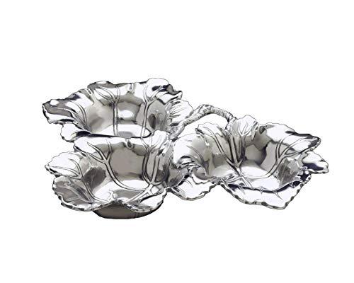 Arthur Court Designs Aluminum Grape 3-Bowls Dip/Sauce Serving Bowl 13