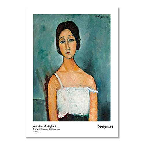 crack of dawn Modern Vogue Woman Portrait by Amedeo Modigliani Canvas Print Painting Poster Wall Pictures for Living Room Home Decor Wall Art,30x42cm No - Modigliani Modern Poster