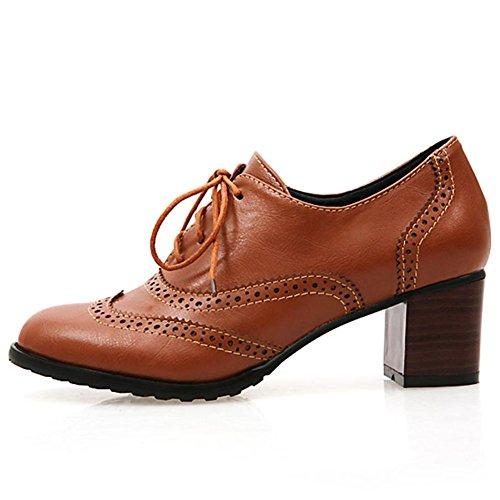 Pu Dress up Booties Size 2 Heel Vintage Lace Leather Brown Large Women's Brogues Shoes Cuban Ankle Oxfords Block DoraTasia qpItwOyT