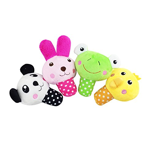 Petzilla Squeaky Sound Chew Animal Toys for Pet Dogs Cats, Panda Rabbit Frog Chick, Pack of 4