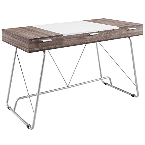 Modway Panel Writing Office Desk With Storage Drawers In Birch